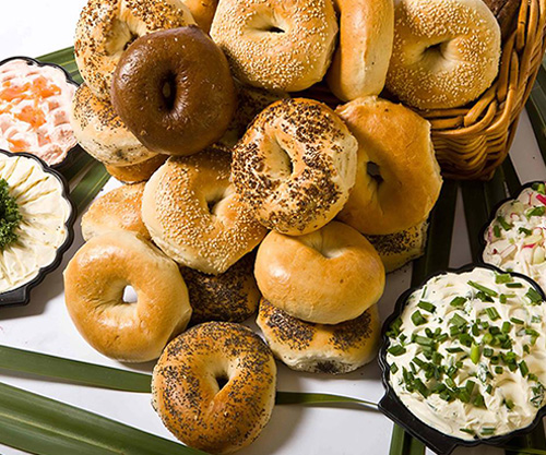 a table of assorted bagels